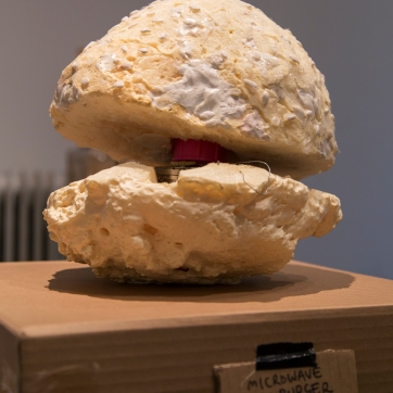 Mircowave Hamburger, 2017 A Moving Sculpture Size: c. 50 cm x 40cm x 50cm Materials: Polyurethane, play dough, an electric motor Pictures by Iida-Liina Linnea