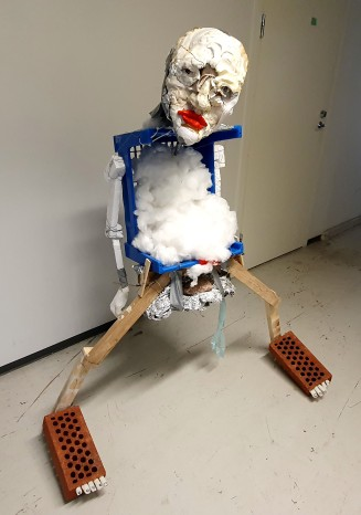 """Sculpture person from """"It's OK Valley"""" -series. Objet trouvé, stuff, glue, plaster, tape, love, and trash materials. 2019. Size: 150 cm x 120cm x 80 cm."""